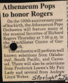 Athenaeum Pops to honor Roger article