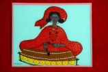 Reverse glass painting of Woman playing xylophone